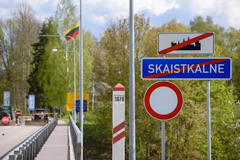 The Latvia-Lithuania border crossing seen from Skaistkalne, Latvia on May 14 ahead of the border reopening. Photo AFP