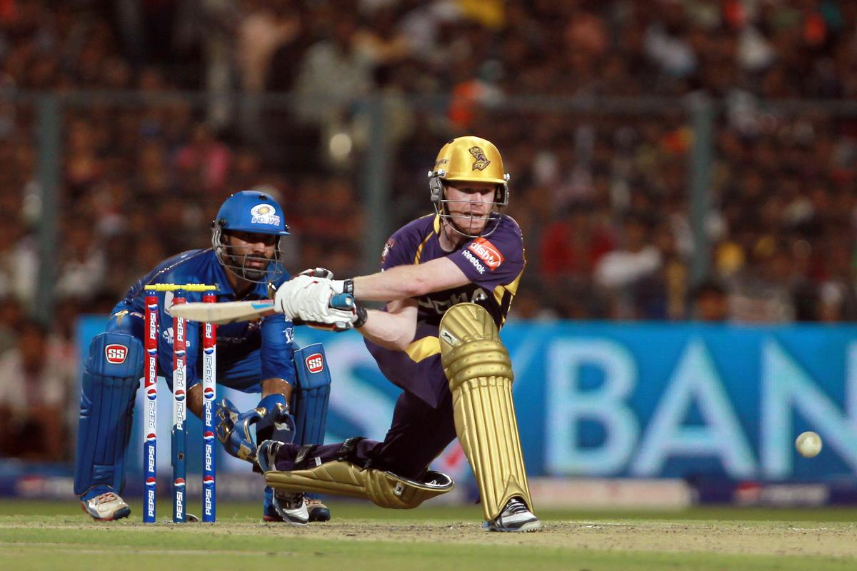 Eoin Morgan plays a reverse sweep during match 33 of the Pepsi Indian Premier League between The Kolkata Knight Riders and The Mumbai Indians held at Eden Gardens Stadium, Kolkata on the 24th April 2013. Photo by Jacques Rossouw-IPL-SPORTZPICS   ..Use of this image is subject to the terms and conditions as outlined by the BCCI. These terms can be found by following this link:..https://ec.yimg.com/ec?url=http%3a%2f%2fwww.sportzpics.co.za%2fimage%2fI0000SoRagM2cIEc&t=1501123451&sig=mkgGnjrNAqDyhD_CW_1zGg--~C