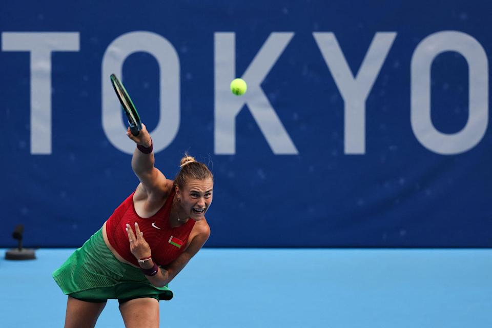 """<p>Sabalenka represented Belarus in the <a href=""""http://olympics.com/tokyo-2020/olympic-games//en/results/tennis/result-women-s-singles-r32-000500-.htm"""" class=""""link rapid-noclick-resp"""" rel=""""nofollow noopener"""" target=""""_blank"""" data-ylk=""""slk:2021 Olympics in Tokyo"""">2021 Olympics in Tokyo</a>. She was ranked 17 going into the women's singles matches, and beat Magda Linette from Poland during the first round but lost to Croatian player Donna Vekić in the second round.</p>"""