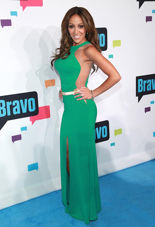 "NEW YORK, NY - APRIL 03:  TV personality Melissa Gorga of ""The Real Housewives of New Jersey"" attends the 2013 Bravo Upfront at Pillars 37 Studios on April 3, 2013 in New York City.  (Photo by Taylor Hill/FilmMagic)"
