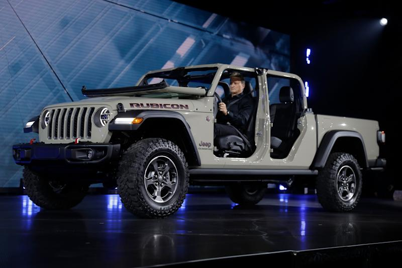 CORRECTS MODEL YEAR FROM 2019 TO 2020- A 2020 Jeep Gladiator Rubicon is shown during the Los Angeles Auto Show on Wednesday, Nov. 28, 2018, in Los Angeles. (AP Photo/Chris Carlson)