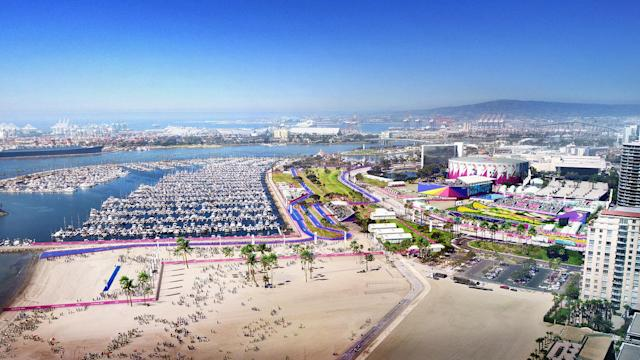 <p>Triathalon and Swimming are shown in this Long Beach Waterfront rendering. (Photo: Courtesy LA 2024) </p>
