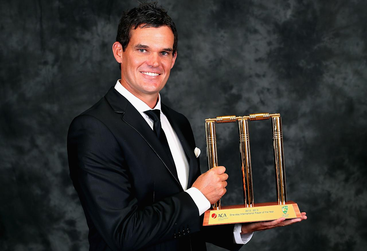 MELBOURNE, AUSTRALIA - FEBRUARY 04:  Clint McKay of Australia poses with his trophy after being named the One Day International Player Of The Year at the 2013 Allan Border Medal awards ceremony at Crown Palladium on February 4, 2013 in Melbourne, Australia.  (Photo by Quinn Rooney/Getty Images)