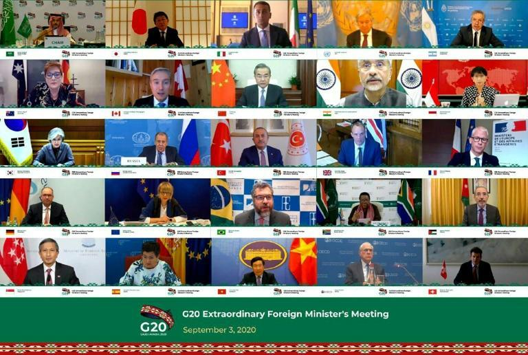 Saudi Foreign Minister Prince Faisal bin Farhan (top L) addressing a September 3 virtual meeting of G20 Foreign Ministers to discuss enhancing international cooperation to recover from the impacts of the coronavirus pandemic