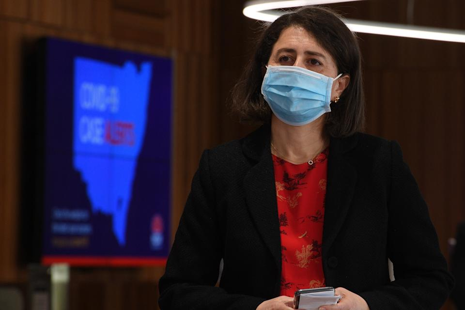 NSW Premier Gladys Berejiklian   during a COVID-19 update in Sydney, Monday, August 30, 2021.