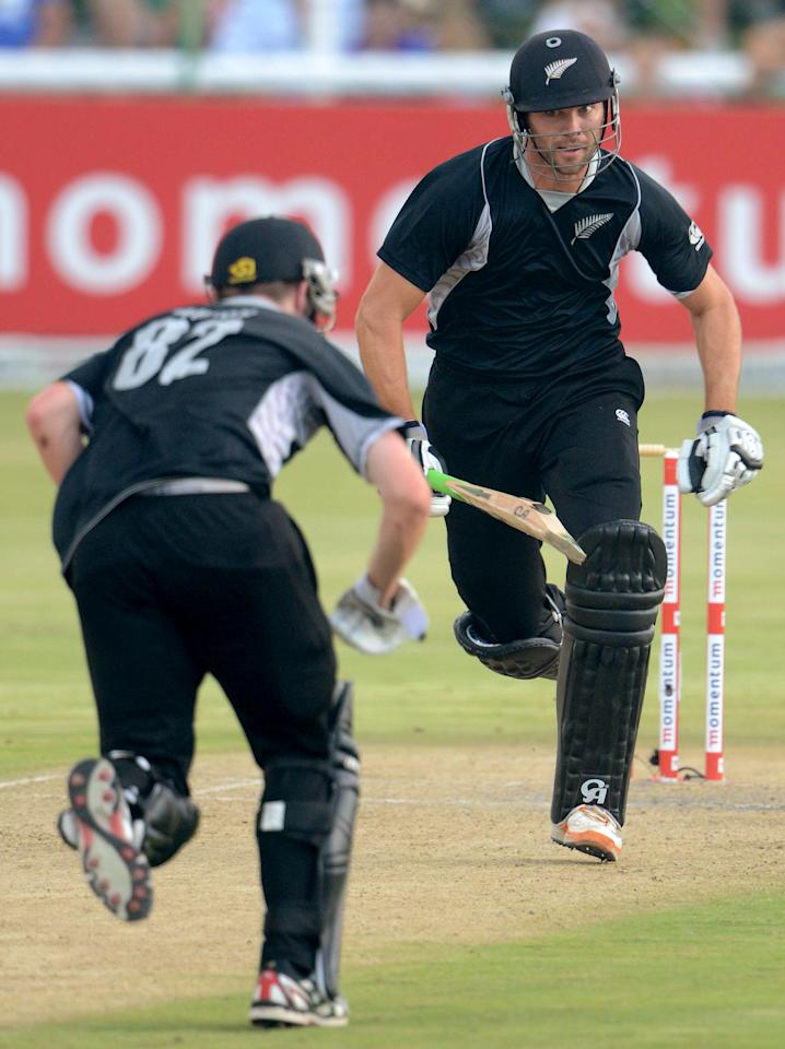 POTCHEFSTROOM, SOUTH AFRICA - JANUARY 25:  James Franklin of New Zealand runs between the wickets during the 3rd One Day International match between South Africa and New Zealand at Senwes Park on January 25, 2013 in Potchefstroom, South Africa.  (Photo by Lee Warren/Gallo Images/Getty Images)