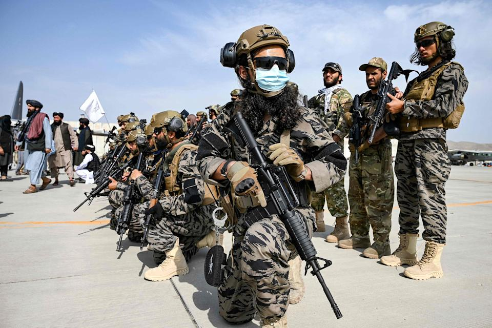 Taliban Badri special force fighters are pictured at Kabul airport (AFP via Getty Images)