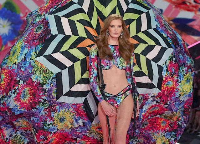 British model Alexina Graham walks the runway at the 2018 Victoria's Secret Fashion Show. photo: Getty Images