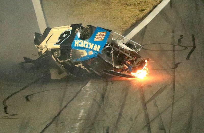 DAYTONA BEACH, FLORIDA - FEBRUARY 17: Ryan Newman, driver of the #6 Koch Industries Ford, crashes and flips during the NASCAR Cup Series 62nd Annual Daytona 500 at Daytona International Speedway on February 17, 2020 in Daytona Beach, Florida. (Photo by Mike Ehrmann/Getty Images)