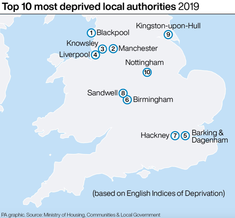 The top 10 most deprived neighbourhoods in England (PA)