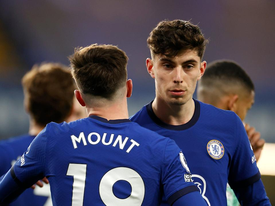 Chelsea midfielders Mason Mount and Kai Havertz (Getty Images)