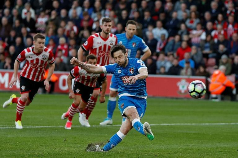 Bournemouth's Harry Arter misses a penalty shot during their English Premier League football match against Southampton on April 1, 2017