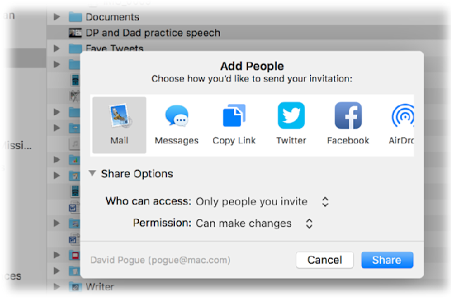 Anything that's on your iCloud Drive (kind of like Apple's version of Dropbox), you can share with someone.