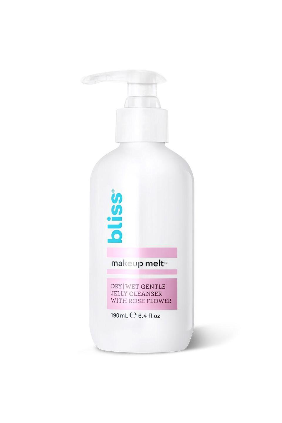 """<p><strong>Bliss</strong></p><p>ulta.com</p><p><strong>$13.00</strong></p><p><a href=""""https://go.redirectingat.com?id=74968X1596630&url=https%3A%2F%2Fwww.ulta.com%2Fmakeup-melt-jelly-cleanser%3FproductId%3DxlsImpprod17921128&sref=https%3A%2F%2Fwww.cosmopolitan.com%2Fstyle-beauty%2Fbeauty%2Fg19620718%2Fbest-makeup-remover%2F"""" rel=""""nofollow noopener"""" target=""""_blank"""" data-ylk=""""slk:Shop Now"""" class=""""link rapid-noclick-resp"""">Shop Now</a></p><p>This formula can be used on dry or wet skin. Here's how: On dry skin, it breaks down makeup with a quick swipe over your face with a cotton pad. On wet skin, its milky jelly consistency is viscous enough to stay on your skin (without sliding off your face) <strong>to help dissolve your makeup, dirt, and excess <a href=""""https://www.cosmopolitan.com/style-beauty/beauty/g25456501/best-face-oil/"""" rel=""""nofollow noopener"""" target=""""_blank"""" data-ylk=""""slk:oils"""" class=""""link rapid-noclick-resp"""">oils</a>.</strong></p>"""