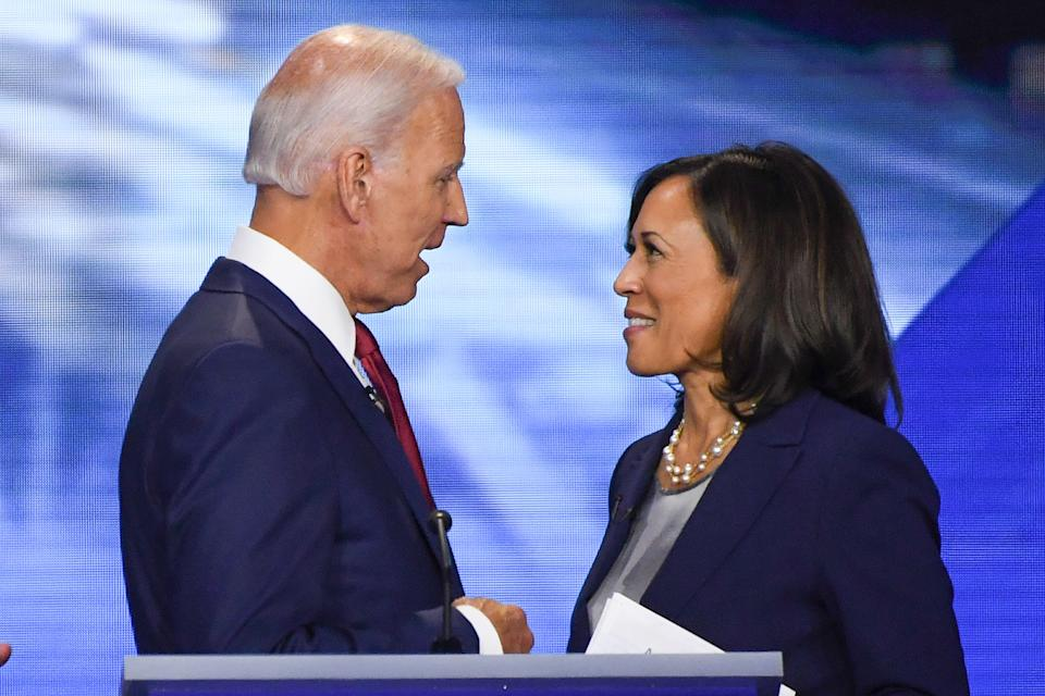 Former Vice President Joe Biden and Senator Kamala Harris speak on September 12, 2020, in Houston, Texas, after the third Democratic primary debate of the 2020 presidential campaign season hosted by ABC News in partnership with Univision at Texas Southern University in Houston, Texas. - Biden named Harris, a high-profile black senator from California, as his vice presidential choice on August 11, 2020, capping a months-long search for a Democratic partner to challenge President Donald Trump in November. (Photo by Robyn Beck / AFP) (Photo by ROBYN BECK/AFP via Getty Images)