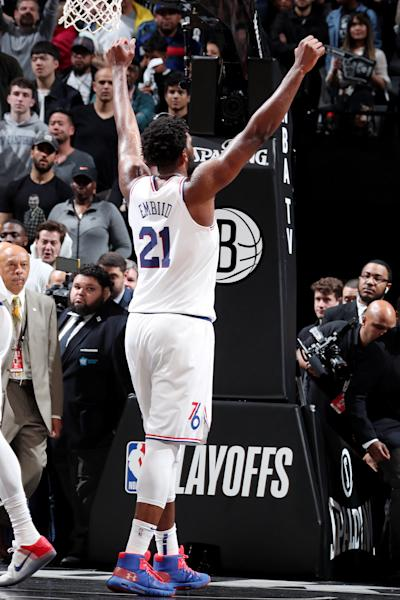 BROOKLYN, NY - APRIL 20: Joel Embiid #21 of the Philadelphia 76ers reacts after defeating the Brooklyn Nets in Game Four of Round One of the 2019 NBA Playoffs on April 20, 2019 at Barclays Center in Brooklyn, New York. (Photo by Nathaniel S. Butler/NBAE via Getty Images)