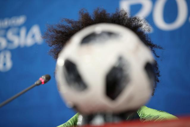 Soccer Football - World Cup - Brazil Press Conference - Rostov Arena, Rostov-on-Don, Russia - June 16, 2018 Brazil's Marcelo during the press conference REUTERS/Marko Djurica TPX IMAGES OF THE DAY