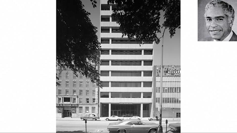 Moutoussamy designed the 11-story concrete Johnson Publishing Building as the headquarters for magazines, led by Ebony and Jet. - Credit: Chicago History Museum/Hedrich-Blessing Collection