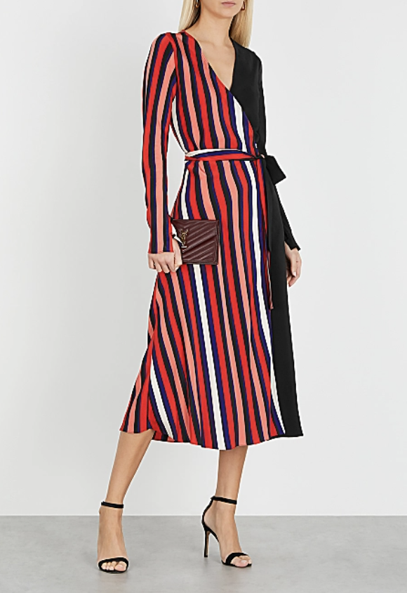 PHOTO: Harvey Nichols. Diane Von Furstenberg Tilly striped silk crepe de chine wrap dress