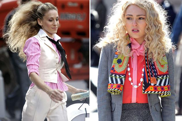 Carrie always seems to have an invested interest in men. And not in the Samantha kind of way. We're talking about fashion of course. Carrie brings to life boyish, tailored pieces like vests and blazers with a touch of pink.