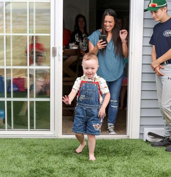 PHOTO: Brody, 4, of Griswold, Connecticut, sees his Make-A-Wish tented play area for the first time. (Jim Molodich)