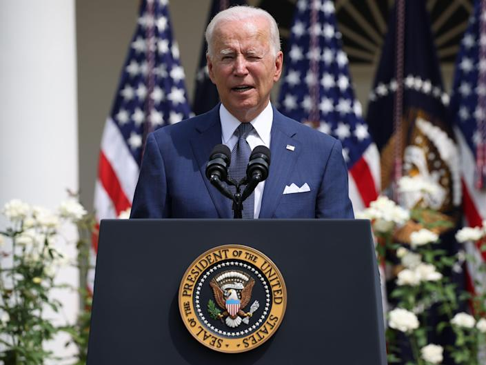 US President Joe Biden speaks during an event marking the 31st anniversary of the Americans with Disabilities Act in the Rose Garden of the White House, July 26, 2021 in Washington, DC.