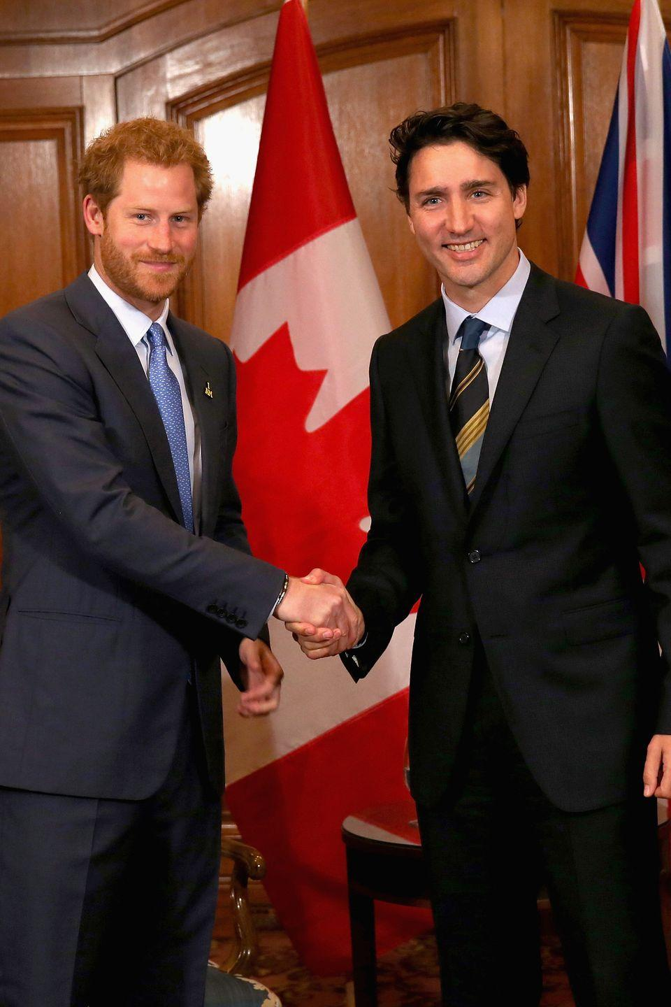<p>Prince Harry shakes hands with Canadian Prime Minister Justin Trudeau during a meeting in Toronto. </p>