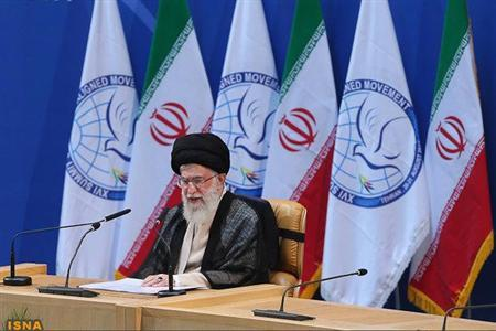 Iran's Supreme Leader Ayatollah Ali Khamenei speaks during the 16th summit of the Non-Aligned Movement in Tehran