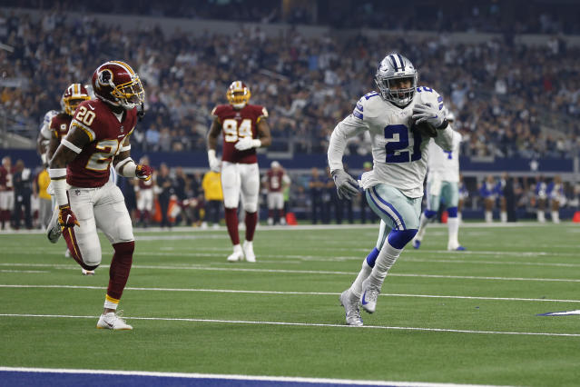 Dallas Cowboys running back Ezekiel Elliott runs past Washington safety Ha Ha Clinton-Dix on his way to a touchdown during the first half of Thursday's game. (AP)
