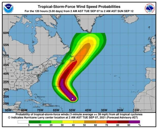 Models increasingly show Newfoundland and Labrador in the path of Hurricane Larry. (National Hurricane Center - image credit)