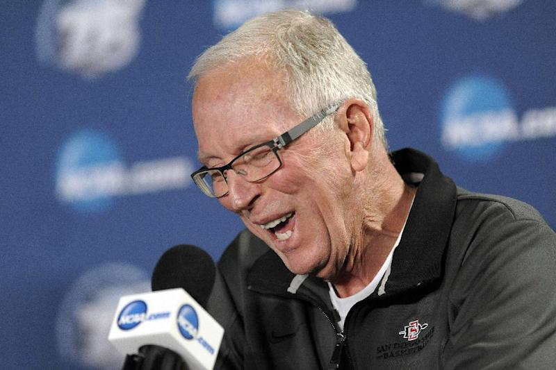 San Diego State head coach Steve Fisher speaks during a news conference for a third-round game of the NCAA college basketball tournament, Saturday, March 23, 2013, in Philadelphia. San Diego State is scheduled to play Florida Gulf Coast on Sunday. (AP Photo/Michael Perez)