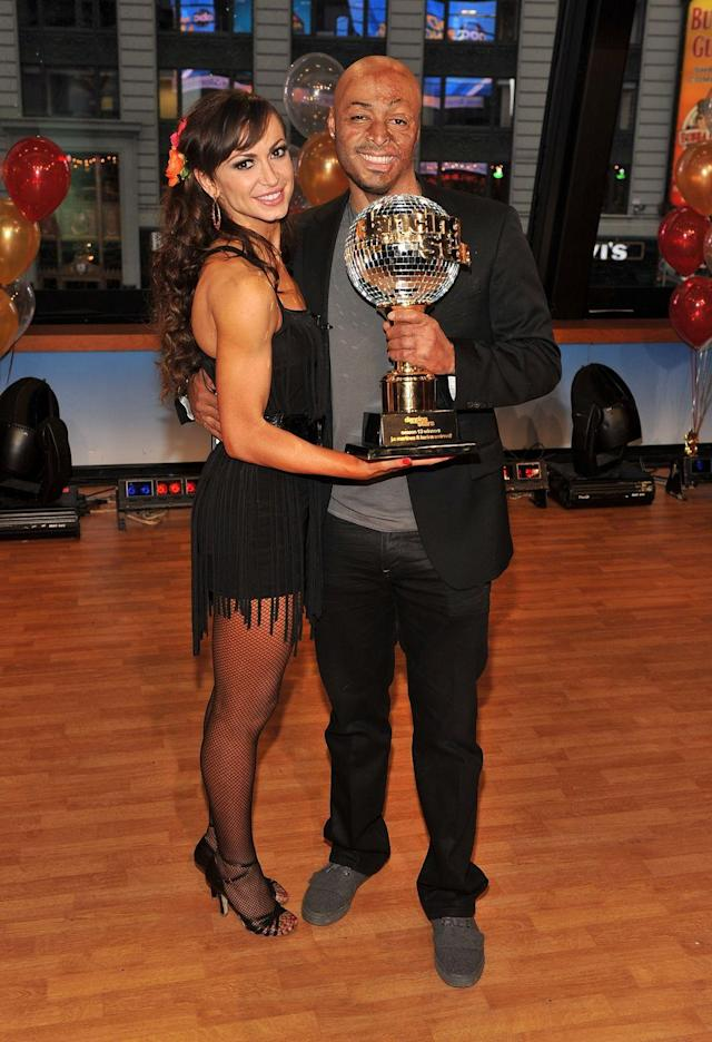 """<p>Veteran and <em>All My Children </em>star J.R. Martinez and dancer Karina Smirnoff earned the Mirror Ball Trophy during season 13 of <em>DWTS</em>. The pair's <a href=""""https://youtu.be/aDhV166cW44"""" rel=""""nofollow noopener"""" target=""""_blank"""" data-ylk=""""slk:Viennese waltz"""" class=""""link rapid-noclick-resp"""">Viennese waltz</a> to """"Breakaway"""" will take your breath away.</p>"""