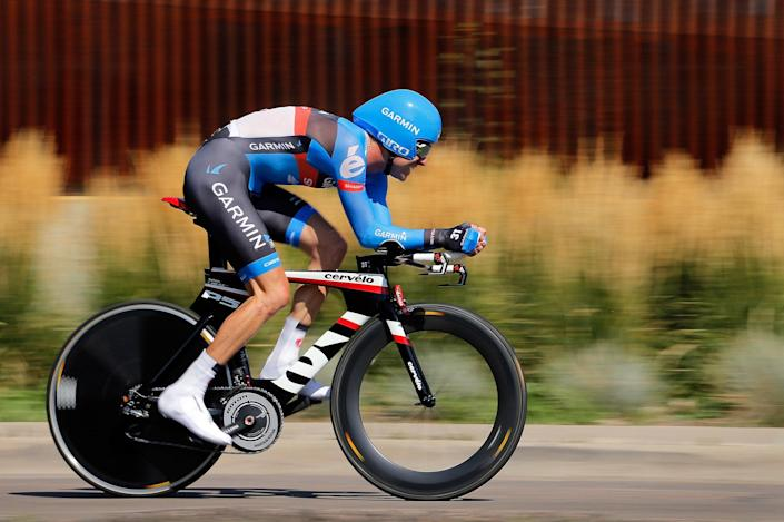 Christain Vande Velde of the USA riding for Garmin-Sharp races to second place in the individual time trial during stage seven to win the general classification in the USA Pro Challenge on August 26, 2012 in Denver, Colorado: Doug Pensinger/Getty Images