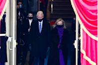 <p>Former President Bill Clinton and former Secretary of State Hillary Clinton arrive at the inauguration </p>