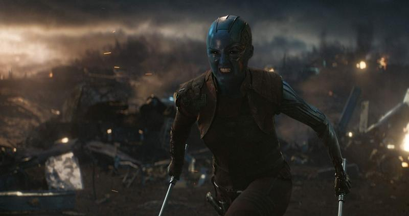 Karen Gillan wields two weapons in Avengers: Endgame (Image by Marvel)