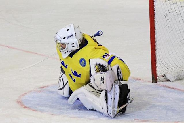 Sweden's goalkeeper Marcus Hogberg reacts during the IIHF Ice Hockey U18 World Championship gold medal game between Sweden and the USA, in Brno, Czech Republic, on April 22, 2012. Team Canada won third place. (Photo by Radek Mica/AFP/Getty Images)