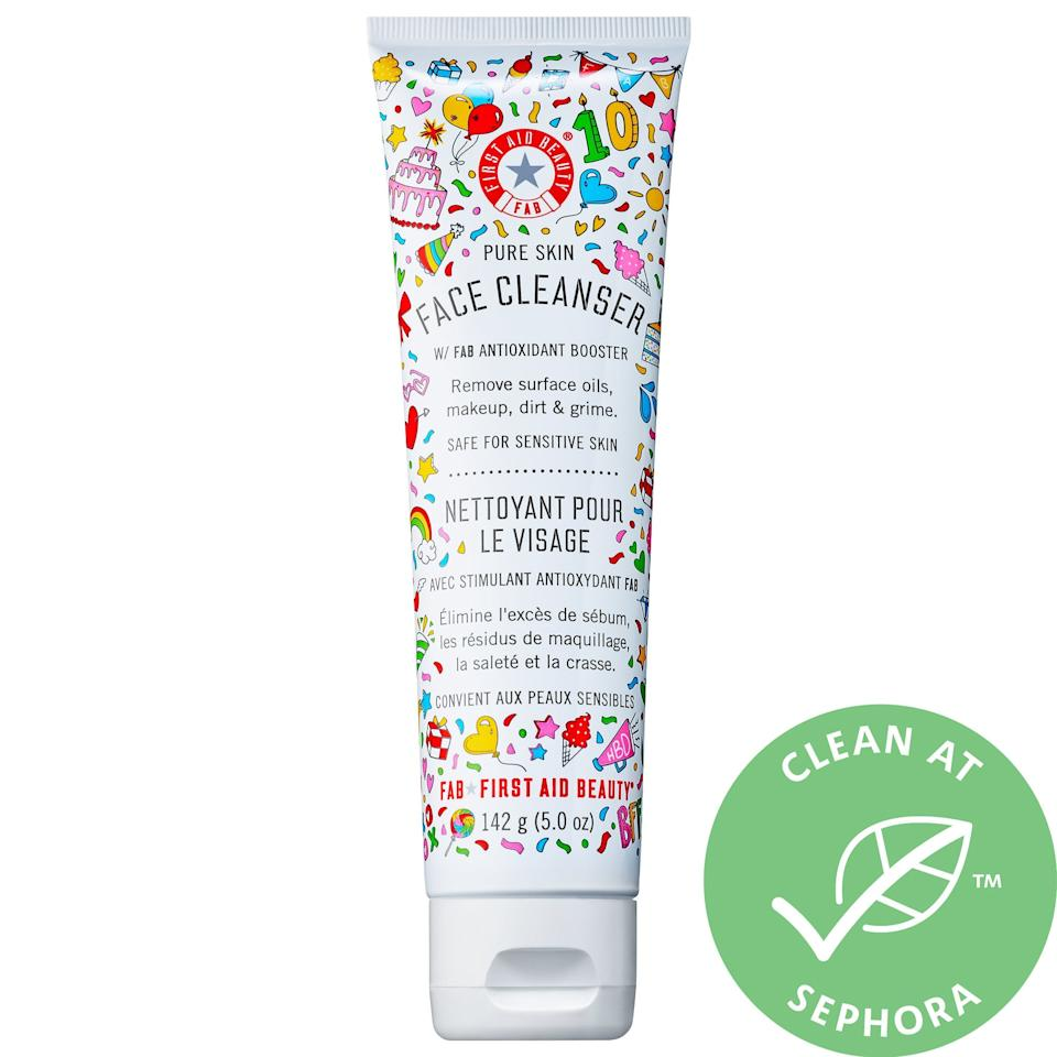 """<p>This <a href=""""https://www.popsugar.com/buy/First-Aid-Beauty-Limited-Edition-Pure-Skin-Face-Cleanser-489884?p_name=First%20Aid%20Beauty%20Limited%20Edition%20Pure%20Skin%20Face%20Cleanser&retailer=sephora.com&pid=489884&price=21&evar1=bella%3Aus&evar9=46607282&evar98=https%3A%2F%2Fwww.popsugar.com%2Fphoto-gallery%2F46607282%2Fimage%2F46607296%2FFirst-Aid-Beauty-Limited-Edition-Pure-Skin-Face-Cleanser&list1=shopping%2Csephora%2Cbeauty%20shopping%2Cunder%20%2425%2Caffordable%20shopping%2Cskin%20care&prop13=api&pdata=1"""" rel=""""nofollow"""" data-shoppable-link=""""1"""" target=""""_blank"""" class=""""ga-track"""" data-ga-category=""""Related"""" data-ga-label=""""https://www.sephora.com/product/limited-edition-pure-skin-face-cleanser-P447501?icid2=justarrivedskincare_us_skugrid_ufe:p447501:product"""" data-ga-action=""""In-Line Links"""">First Aid Beauty Limited Edition Pure Skin Face Cleanser</a> ($21) is so fun to display, and it's gentle yet effective.</p>"""