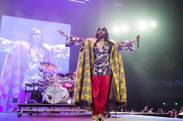 <p>The Oscar winner owned the stage at Paris' AccorHotels Arena, as his band Thirty Seconds to Mars perfomed on Wednesday night. (Photo: David Wolff-Patrick/Redferns) </p>