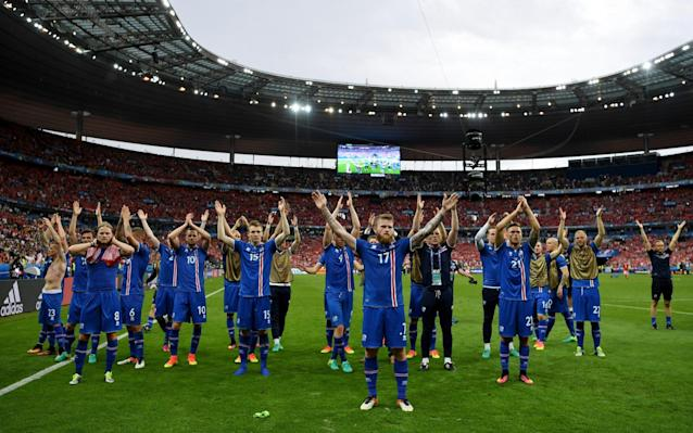<span>The Iceland players showed their appreciation of the fans' support after each stirring performance</span> <span>Credit: Shaun Botterill/Getty  </span>
