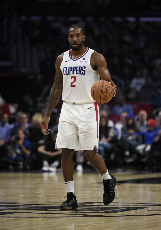 Los Angeles Clippers forward Kawhi Leonard in action during the second half an NBA basketball game against the Charlotte Hornets in Los Angeles, Monday, Oct. 28, 2019. The Clippers won 111-96. (AP Photo/Kelvin Kuo)