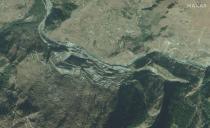 Maxar's satellite image shows an overview of NTPC's under-construction Tapovan Vishnugad Hydropower plant project along the Dhauliganga River in the Uttarakhand region of India before glacial collapse and flash flood
