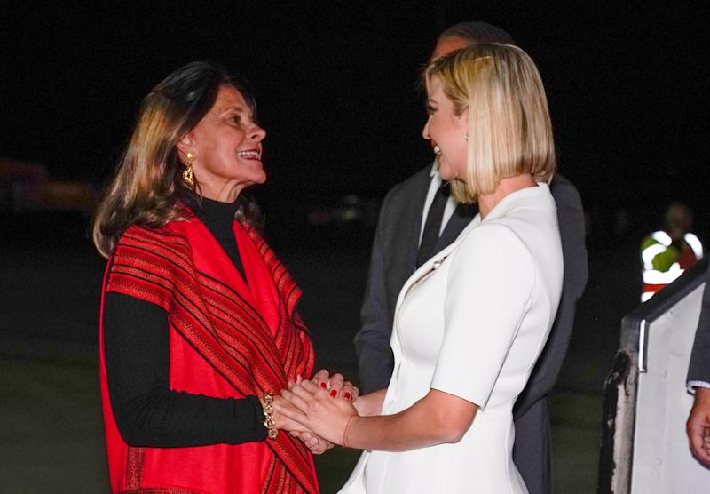 White House senior adviser Ivanka Trump is met by Colombian Vice President Vice President Marta Ramirez upon her arrival in Bogota, Colombia to begin her visit to South America to urge nations to remove barriers to economic empowerment for women September 2, 2019. REUTERS/Kevin Lamarque