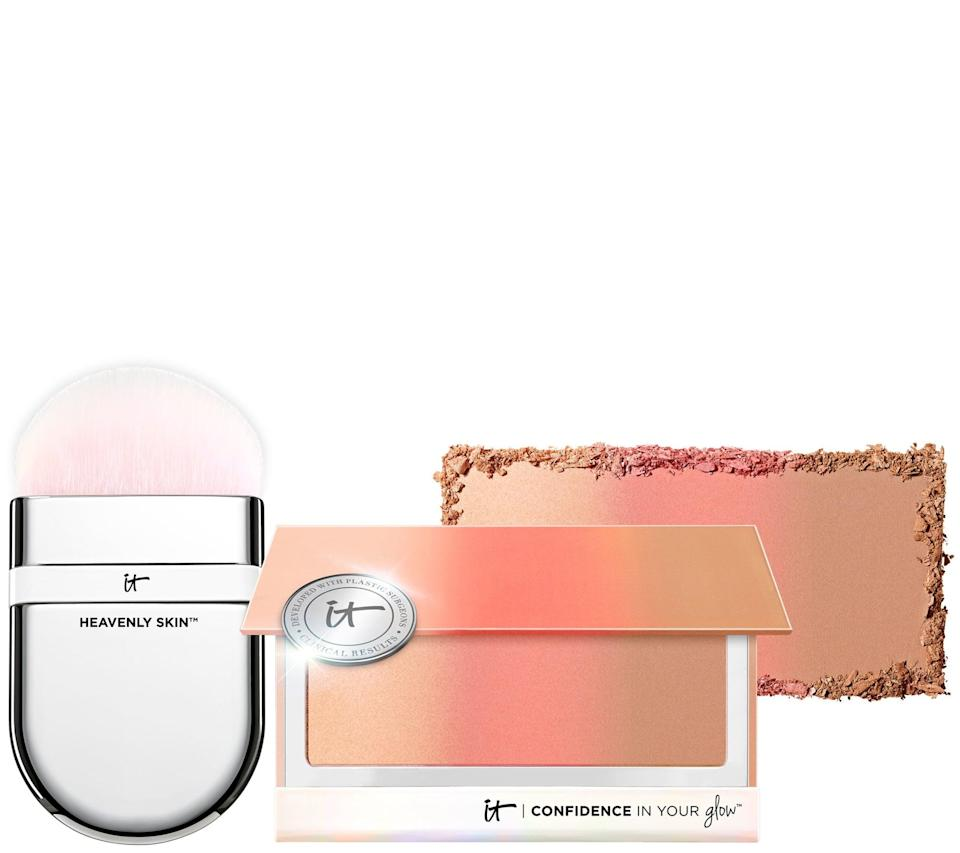 <p>You'll definitely get your money's worth out of<span>IT Cosmetics Confidence In Your Glow Blushing Bronzer &amp; Brush</span> ($16), this skincare meets makeup palette. It's not only a three-in-one bronzing, blushing and highlighting powder, but it's formulated with hydrolyzed collagen, peptides, and a vitamin C derivative to plump and brighten skin from the inside out. Plus, there's a brush for easy blending. </p>