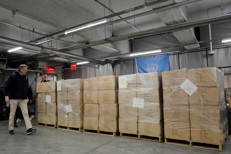 The United Nations donates 250,000 face masks to New York City to help fight the coronavirus disease (COVID-19) in New York