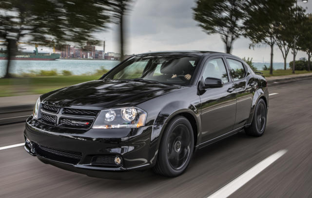 <p> This undated image made available by Chrysler shows the 2013 Dodge Avenger Blacktop Edition. (AP Photo/Chrysler)</p>