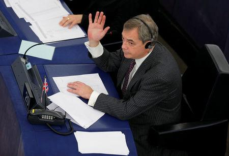 FILE PHOTO: Brexit campaigner and Member of the European Parliament Nigel Farage takes part in a voting session at the European Parliament in Strasbourg, France, January 16, 2018.  REUTERS/Vincent Kessler