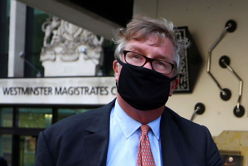 FILE PHOTO: Britain's Crispin Odey leaves Westminster Magistrates Court in London