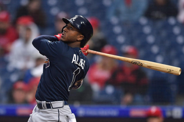"<a class=""link rapid-noclick-resp"" href=""/mlb/teams/atl/"" data-ylk=""slk:Atlanta Braves"">Atlanta Braves</a>' Ozzie Albies is off to a huge start this season (AP Photo)."
