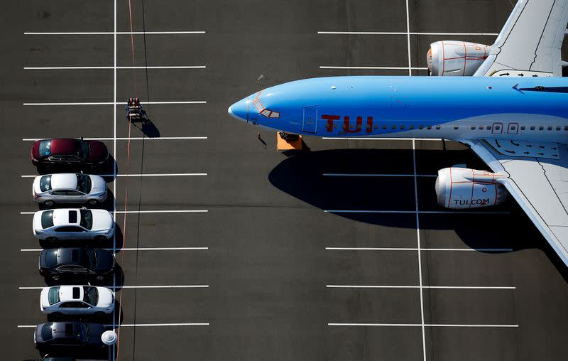 FILE PHOTO: A grounded TUI Airways Boeing 737 MAX aircraft is seen parked at a Boeing employee parking lot at Boeing Field in Seattle