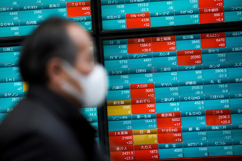 A pedestrian wearing a face mask walks past a stock indicator displaying share prices of the Tokyo Stock Exchange in Tokyo on February 3, 2020. - Tokyo stocks dropped on February 3 as the Chinese market plunged after investors returned from an extended holiday during which the new coronavirus outbreak drove down the global market. (Photo by Behrouz MEHRI / AFP) (Photo by BEHROUZ MEHRI/AFP via Getty Images)